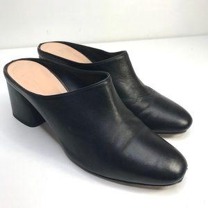 "Club Monaco Women Black Leather 3"" Block Heel Mule"